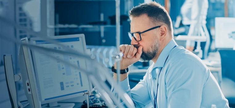 Man at computer screen