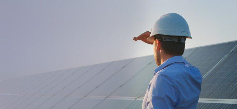 Surveyor on roof